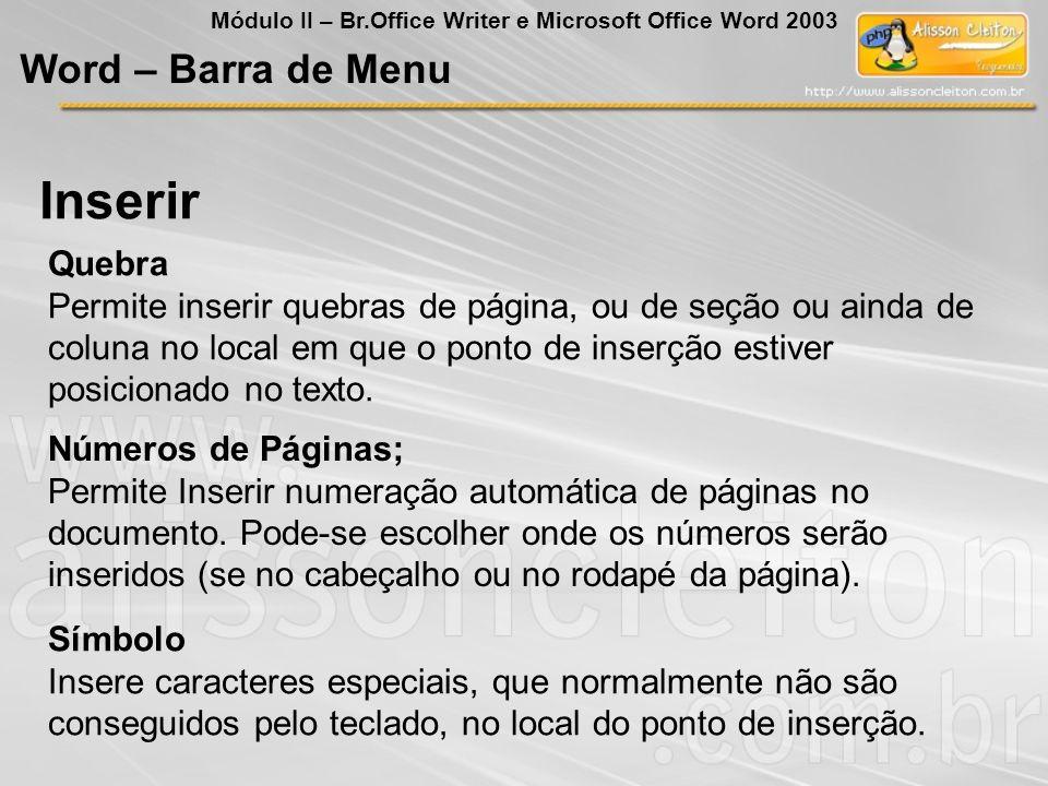Inserir Word – Barra de Menu Quebra
