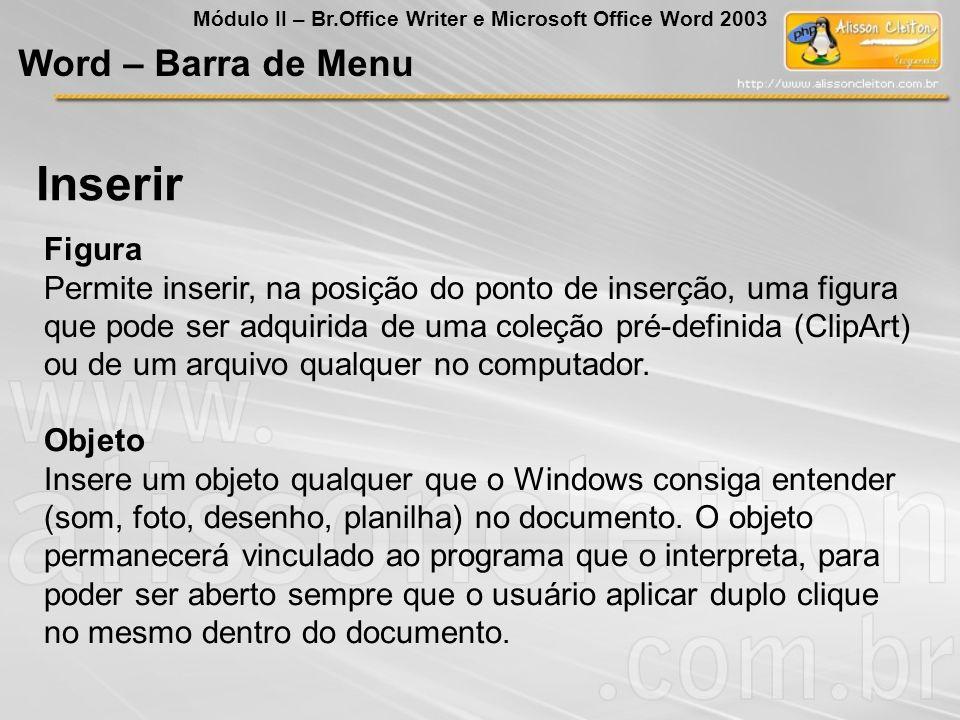 Inserir Word – Barra de Menu Figura
