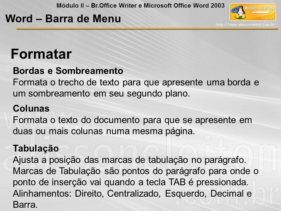 Formatar Word – Barra de Menu Bordas e Sombreamento
