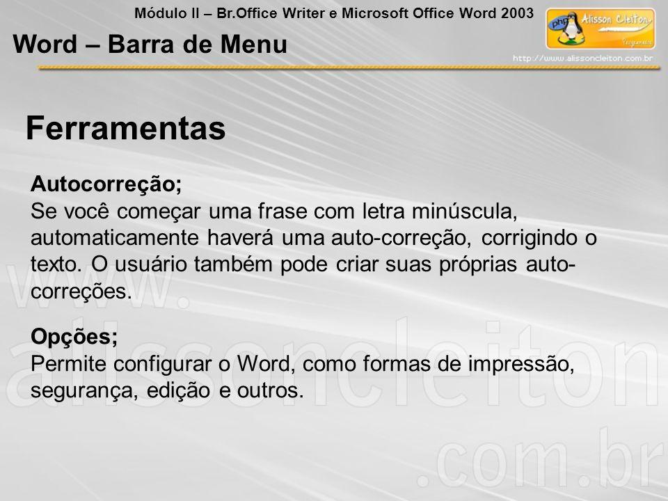 Ferramentas Word – Barra de Menu Autocorreção;