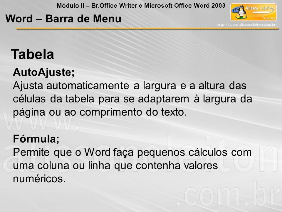 Tabela Word – Barra de Menu AutoAjuste;