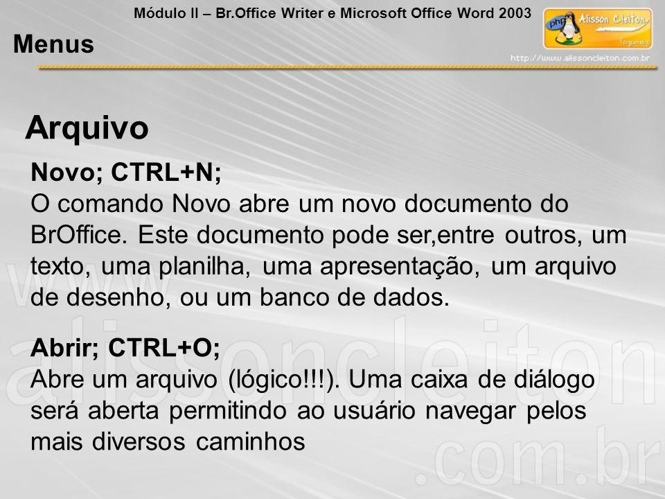 Arquivo Menus Novo; CTRL+N;