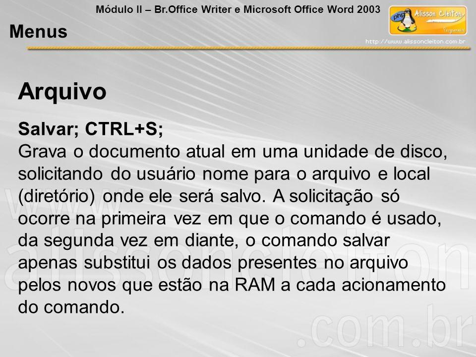Arquivo Menus Salvar; CTRL+S;
