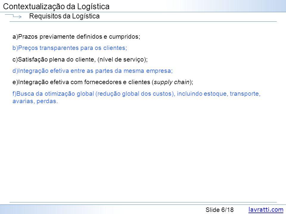 Requisitos da Logística