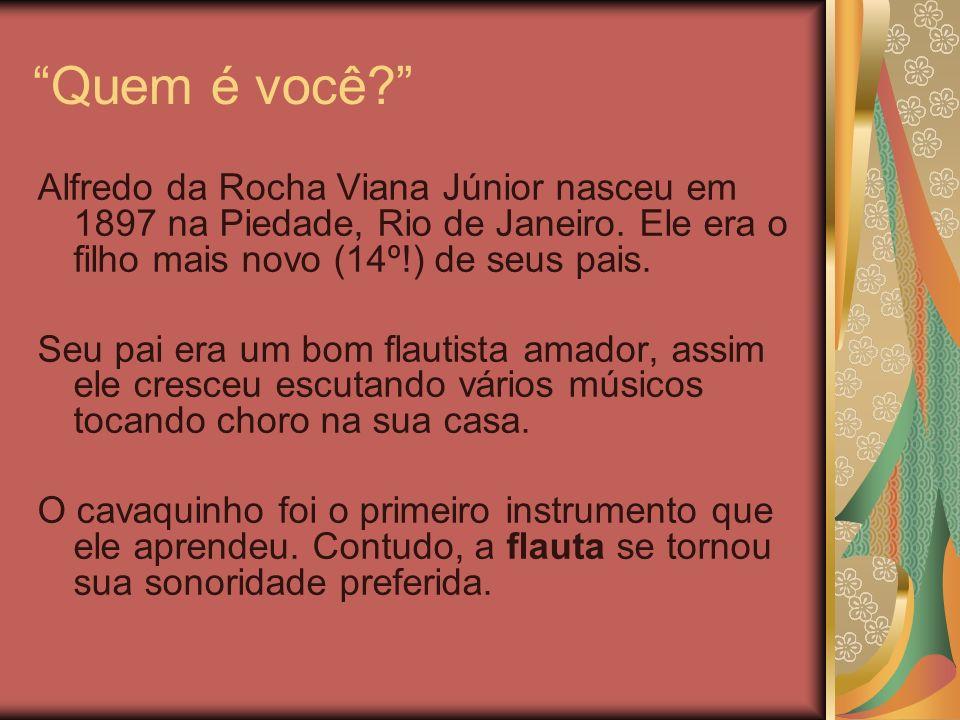 Quem é você Alfredo da Rocha Viana Júnior nasceu em 1897 na Piedade, Rio de Janeiro. Ele era o filho mais novo (14º!) de seus pais.