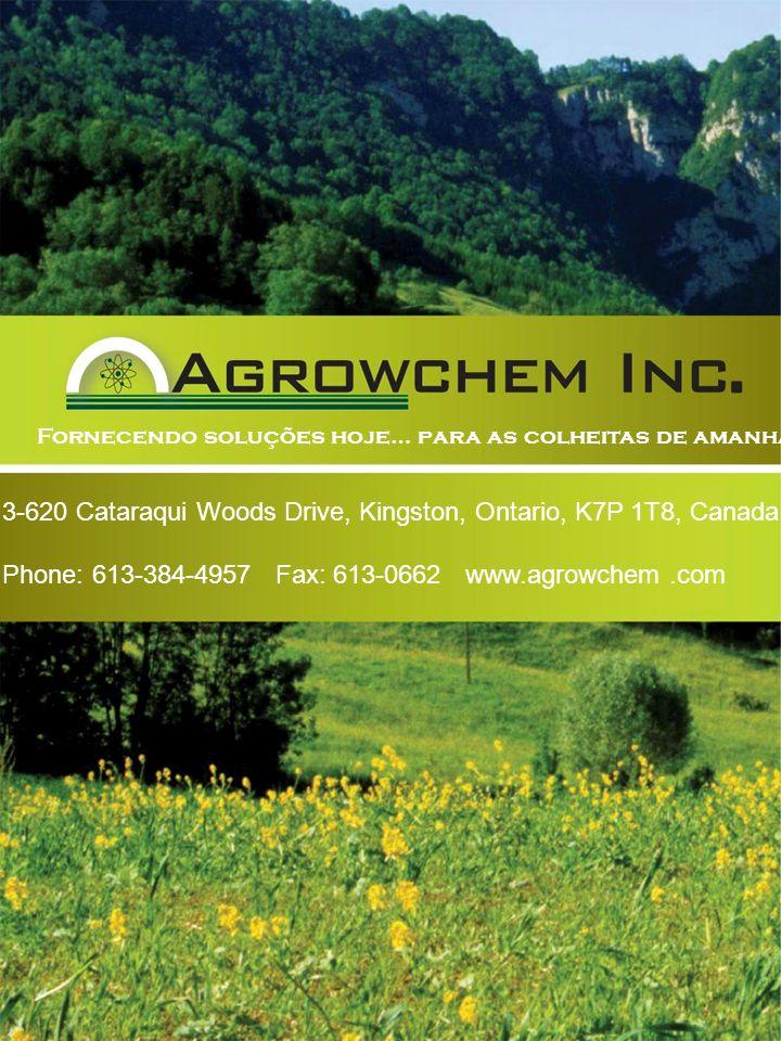 Back Cover Fornecendo soluções hoje… para as colheitas de amanhã! 3-620 Cataraqui Woods Drive, Kingston, Ontario, K7P 1T8, Canada.