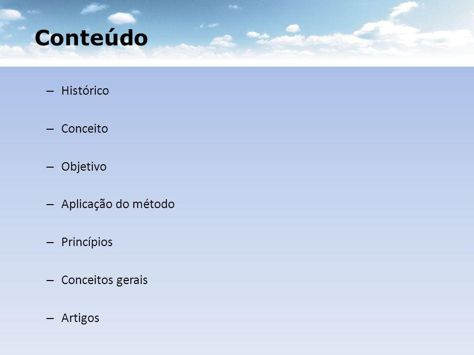Conteúdo Histórico Conceito Objetivo Aplicação do método Princípios