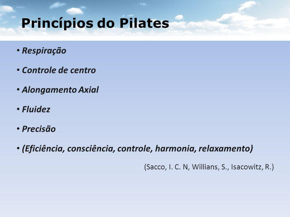Princípios do Pilates Respiração Controle de centro Alongamento Axial