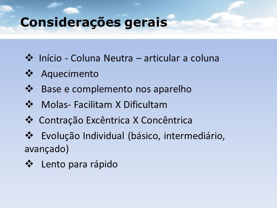 Considerações gerais Início - Coluna Neutra – articular a coluna