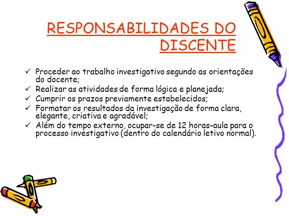 RESPONSABILIDADES DO DISCENTE