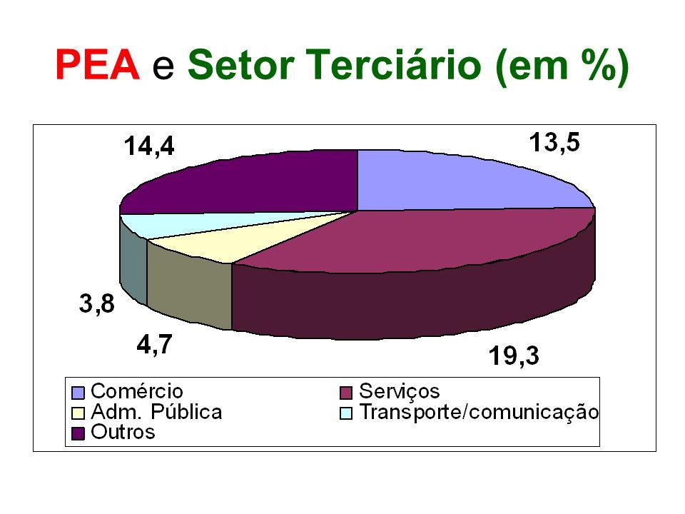PEA e Setor Terciário (em %)
