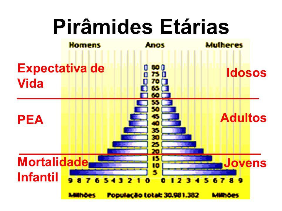 Pirâmides Etárias Expectativa de Vida Idosos PEA Adultos