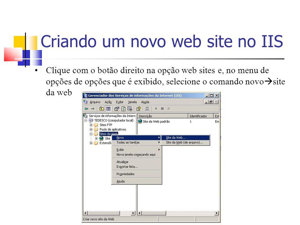 Criando um novo web site no IIS