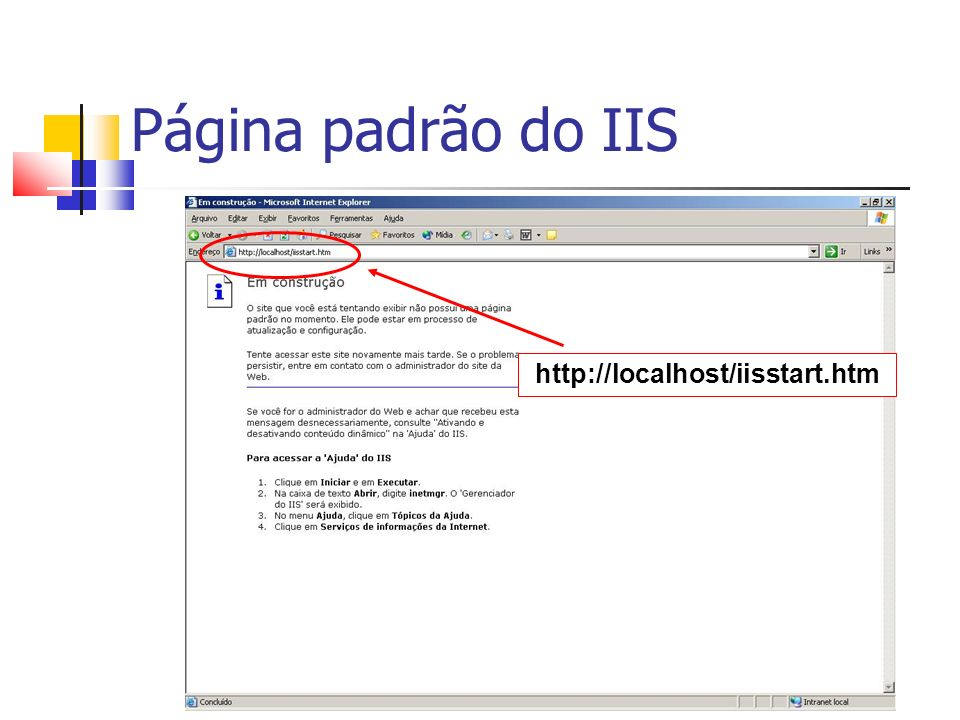 Página padrão do IIS http://localhost/iisstart.htm