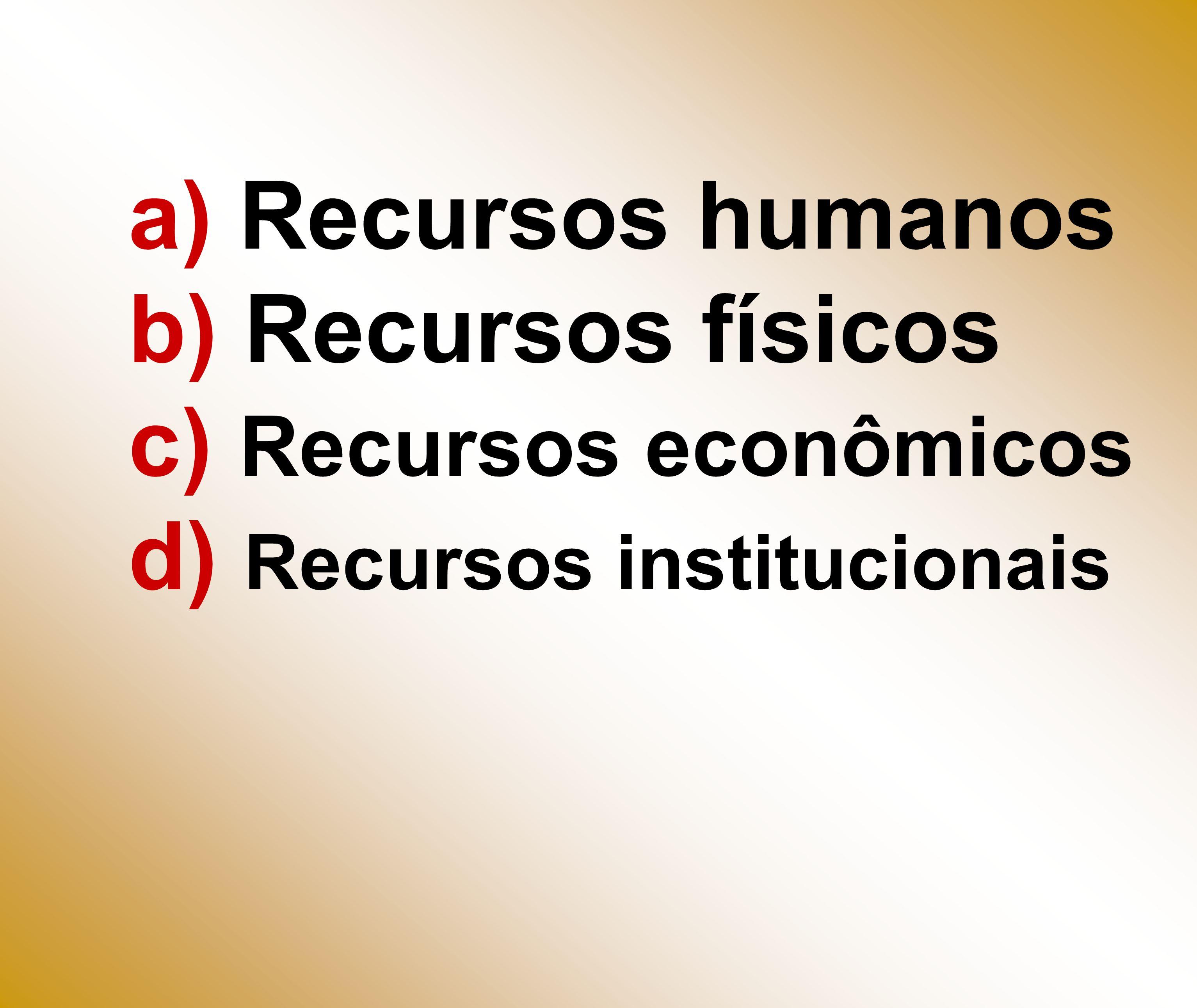a) Recursos humanos b) Recursos físicos c) Recursos econômicos d) Recursos institucionais