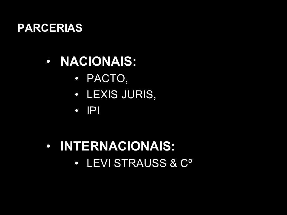 NACIONAIS: INTERNACIONAIS: PARCERIAS PACTO, LEXIS JURIS, IPI