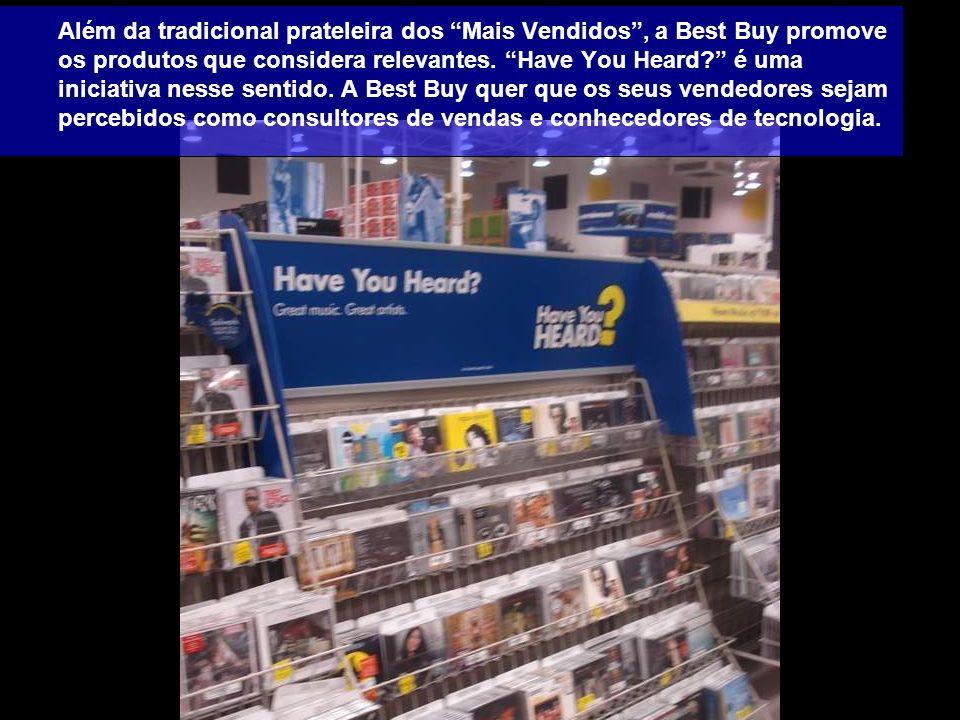 Além da tradicional prateleira dos Mais Vendidos , a Best Buy promove os produtos que considera relevantes.