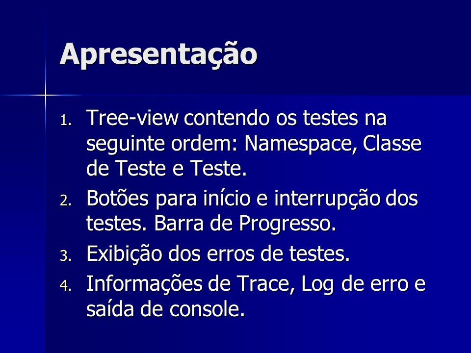 ApresentaçãoTree-view contendo os testes na seguinte ordem: Namespace, Classe de Teste e Teste.