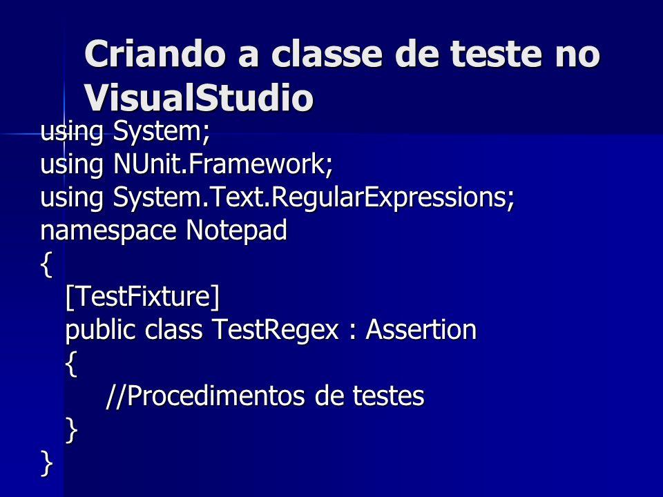 Criando a classe de teste no VisualStudio