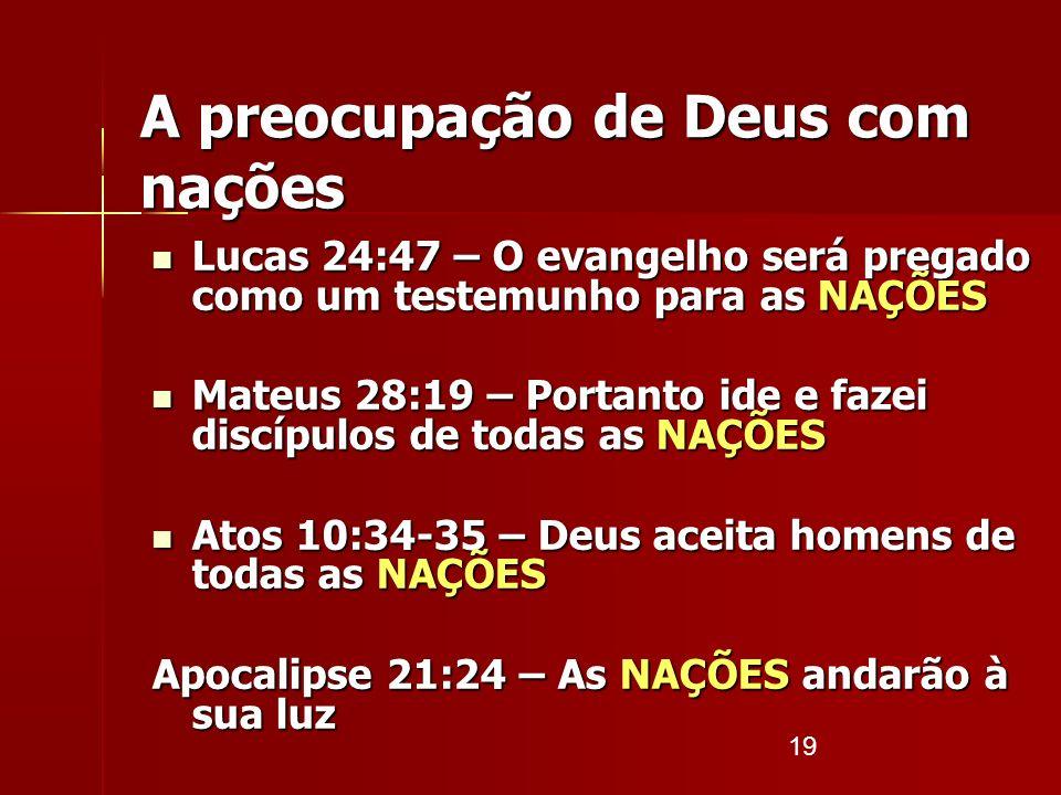 A preocupação de Deus com nações