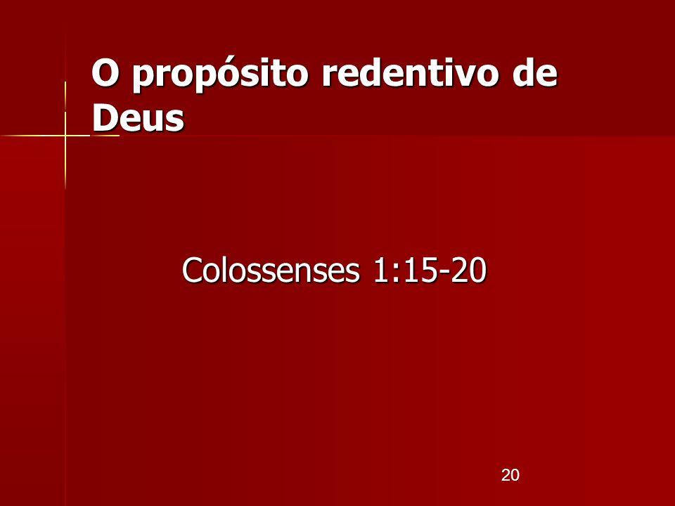 O propósito redentivo de Deus