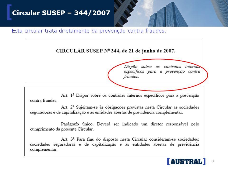 Circular SUSEP – 344/2007 Esta circular trata diretamente da prevenção contra fraudes.