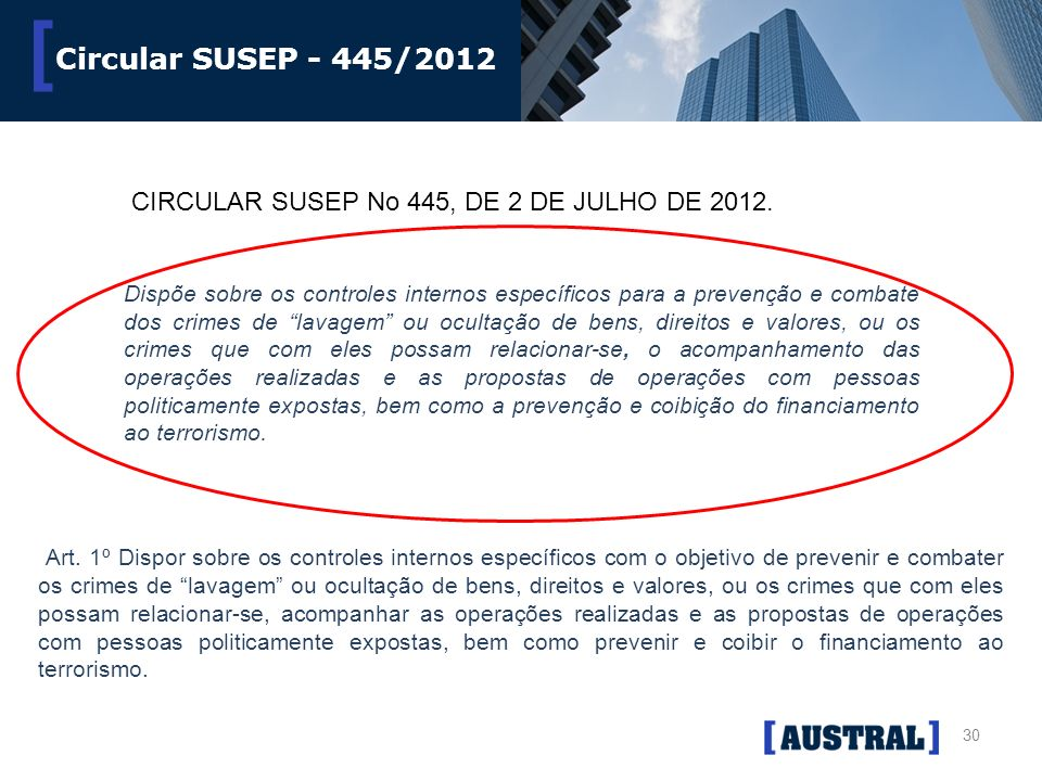 Circular SUSEP - 445/2012 CIRCULAR SUSEP No 445, DE 2 DE JULHO DE 2012.