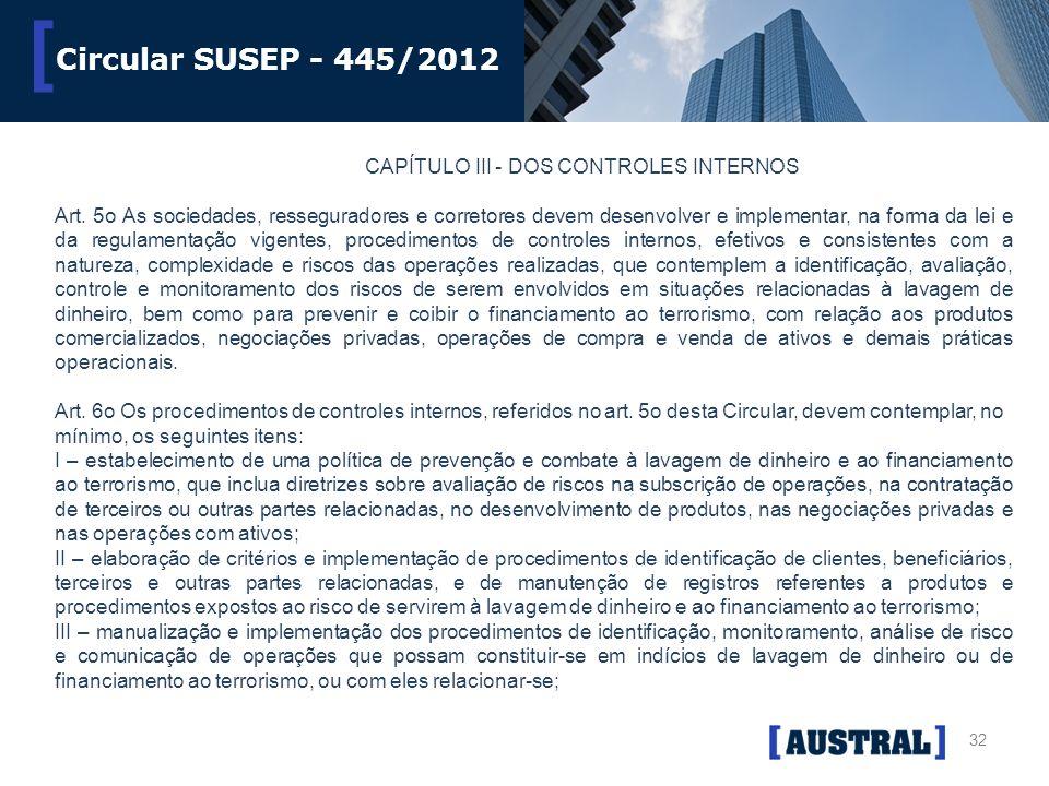 Circular SUSEP - 445/2012 CAPÍTULO III - DOS CONTROLES INTERNOS