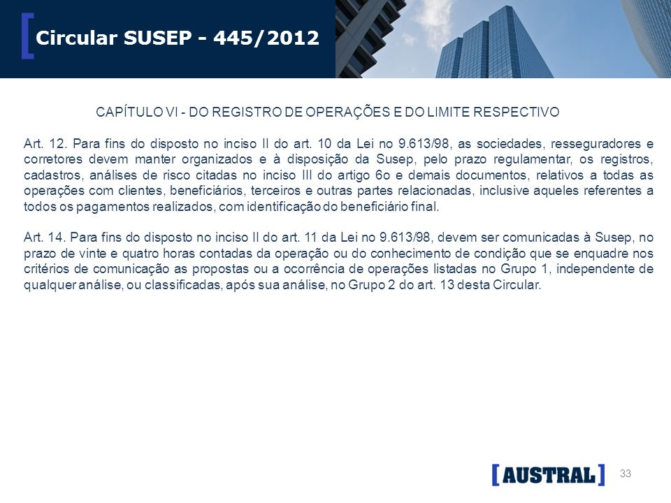 Circular SUSEP - 445/2012 CAPÍTULO VI - DO REGISTRO DE OPERAÇÕES E DO LIMITE RESPECTIVO.