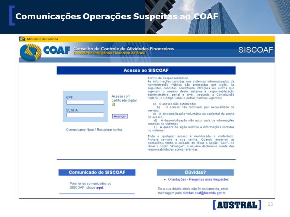 Comunicações Operações Suspeitas ao COAF