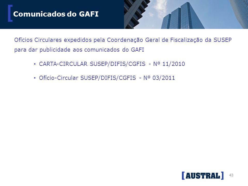 Comunicados do GAFI Ofícios Circulares expedidos pela Coordenação Geral de Fiscalização da SUSEP para dar publicidade aos comunicados do GAFI.