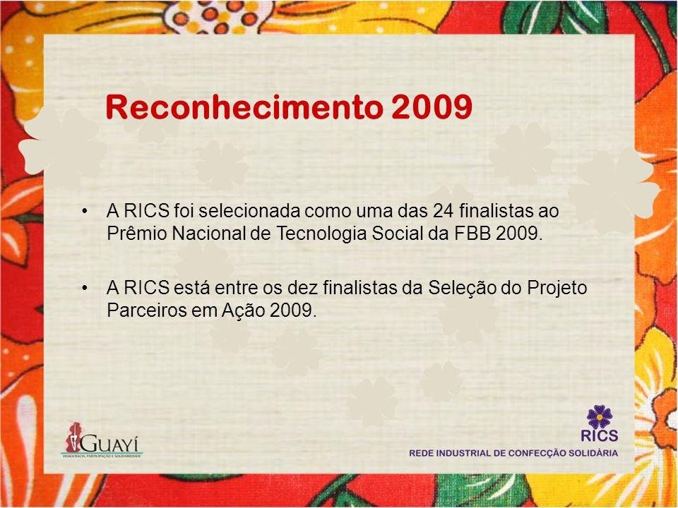 Reconhecimento 2009 A RICS foi selecionada como uma das 24 finalistas ao Prêmio Nacional de Tecnologia Social da FBB 2009.