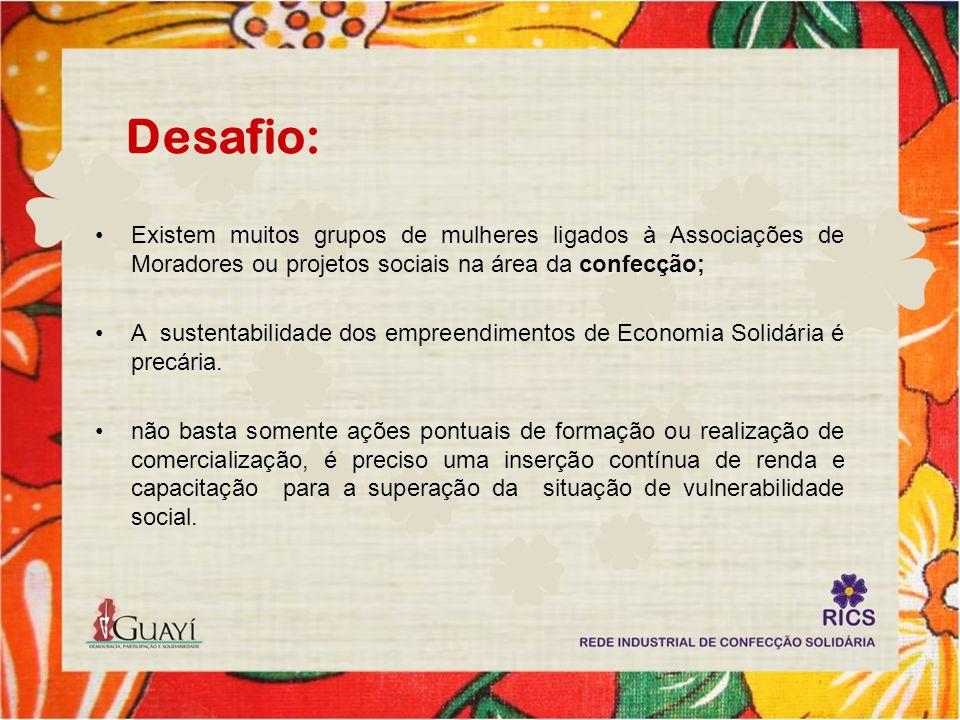 Desafio: Existem muitos grupos de mulheres ligados à Associações de Moradores ou projetos sociais na área da confecção;