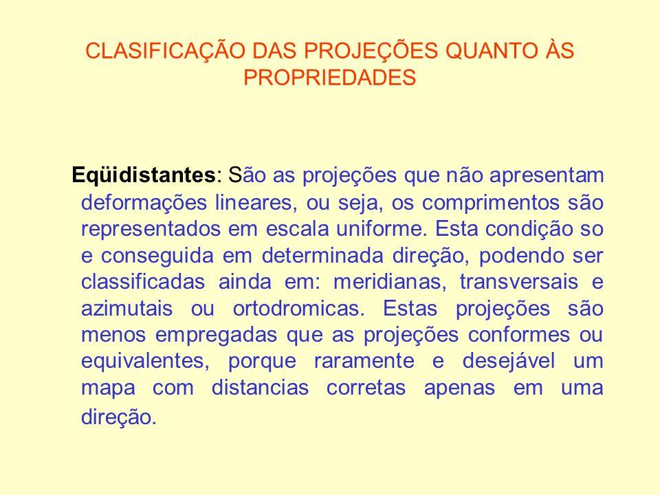 CLASIFICAÇÃO DAS PROJEÇÕES QUANTO ÀS PROPRIEDADES