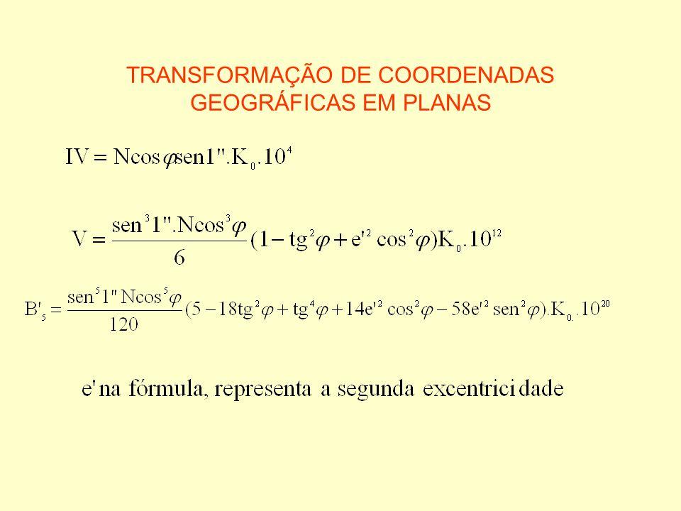 TRANSFORMAÇÃO DE COORDENADAS GEOGRÁFICAS EM PLANAS