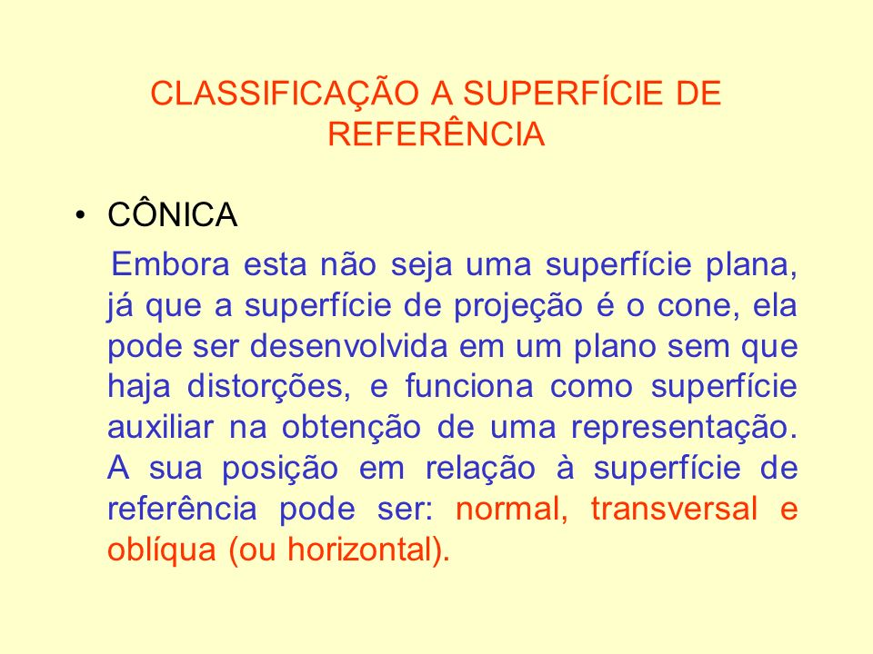 CLASSIFICAÇÃO A SUPERFÍCIE DE REFERÊNCIA