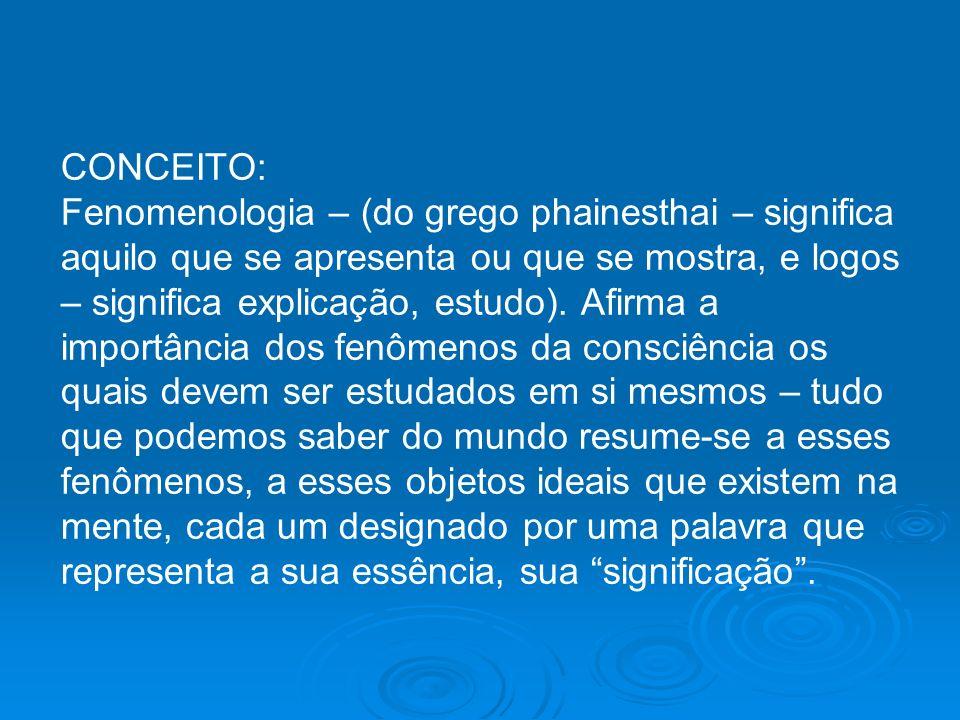 CONCEITO: Fenomenologia – (do grego phainesthai – significa aquilo que se apresenta ou que se mostra, e logos – significa explicação, estudo).