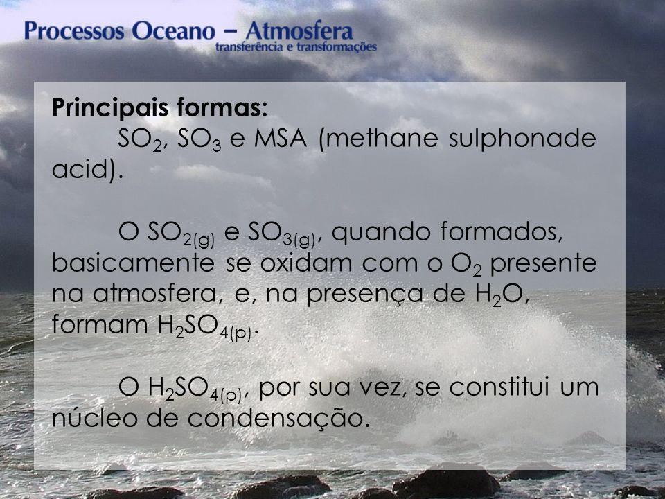 Principais formas: SO2, SO3 e MSA (methane sulphonade acid).