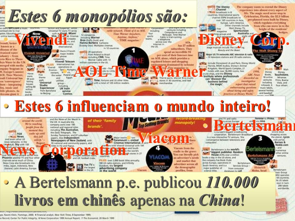 Estes 6 monopólios são: Vivendi Disney Corp. AOL Time Warner