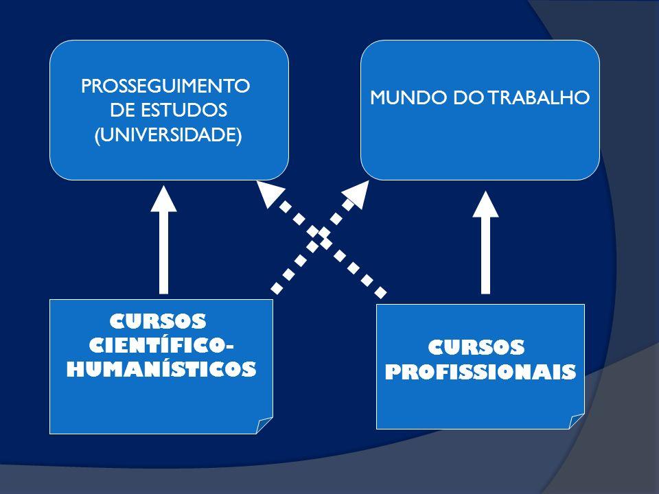 PROSSEGUIMENTO DE ESTUDOS. (UNIVERSIDADE) MUNDO DO TRABALHO. CURSOS. CIENTÍFICO- HUMANÍSTICOS.