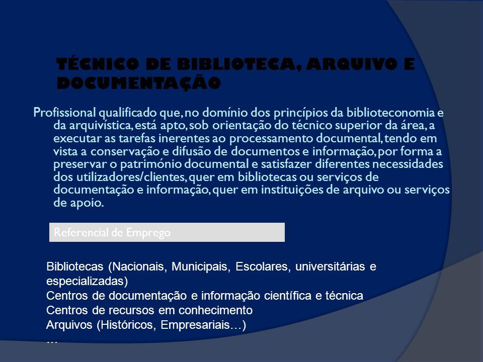 TÉCNICO DE BIBLIOTECA, ARQUIVO E DOCUMENTAÇÃO