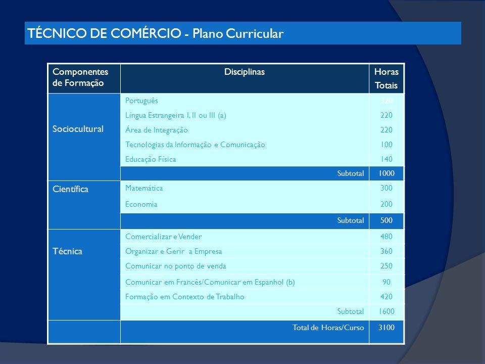 TÉCNICO DE COMÉRCIO - Plano Curricular
