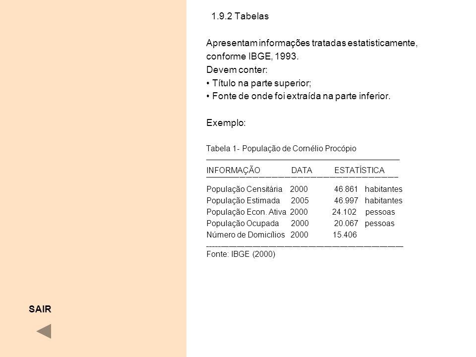 Apresentam informações tratadas estatisticamente, conforme IBGE, 1993.