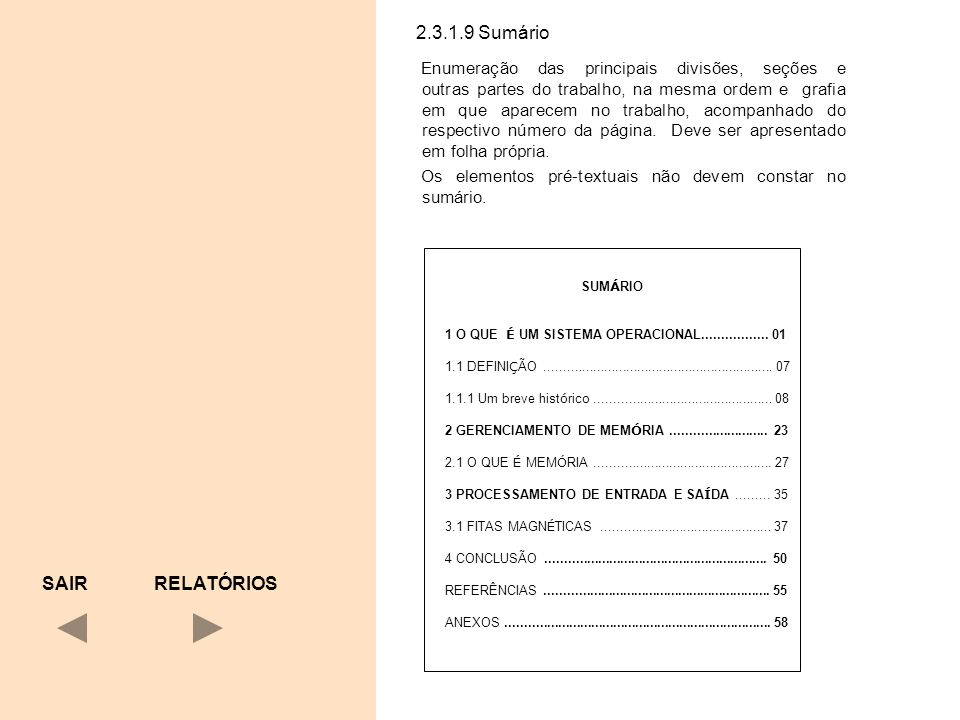 2.3.1.9 Sumário SAIR RELATÓRIOS