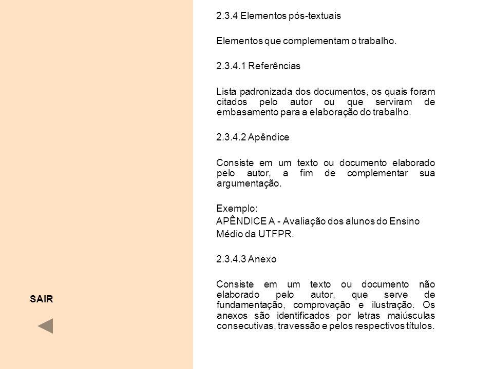 2.3.4 Elementos pós-textuais