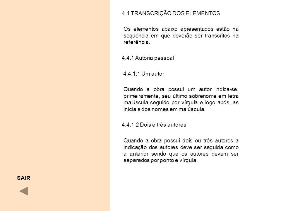 4.4 TRANSCRIÇÃO DOS ELEMENTOS