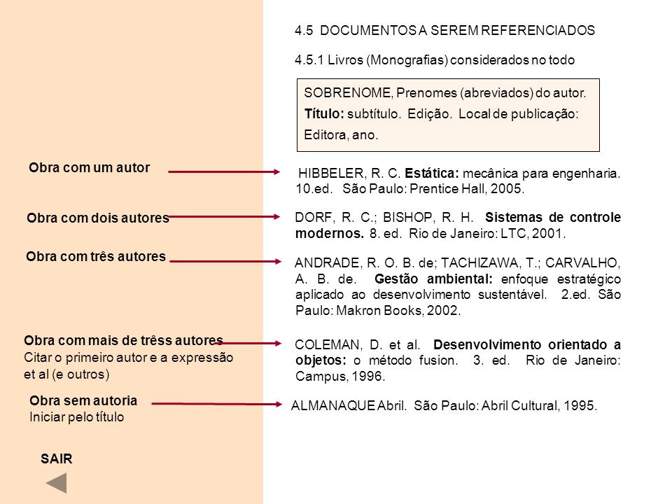 4.5 DOCUMENTOS A SEREM REFERENCIADOS