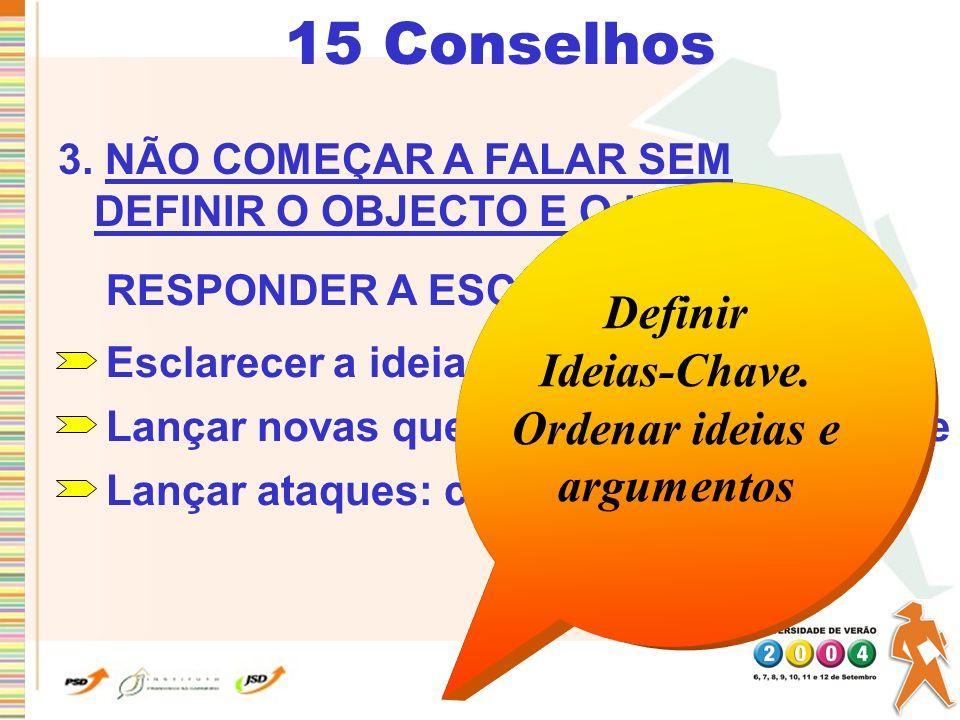 15 Conselhos Definir Ideias-Chave. Ordenar ideias e argumentos