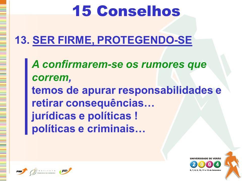 15 Conselhos 13. SER FIRME, PROTEGENDO-SE