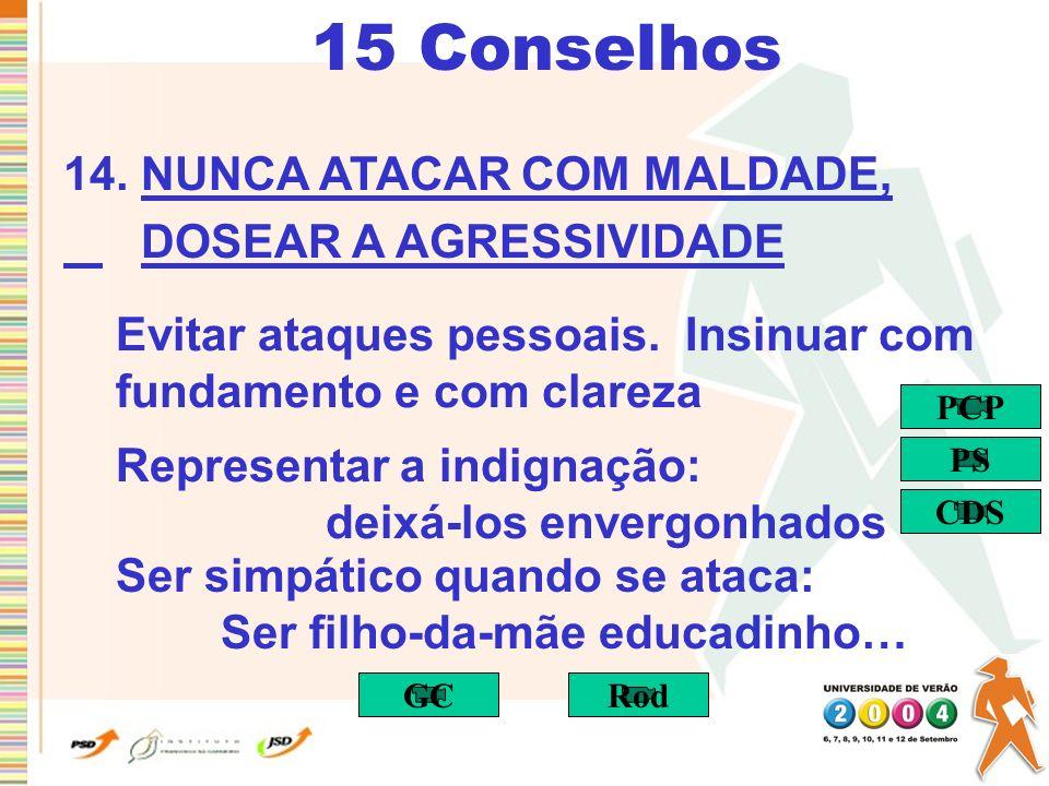 15 Conselhos 14. NUNCA ATACAR COM MALDADE, DOSEAR A AGRESSIVIDADE